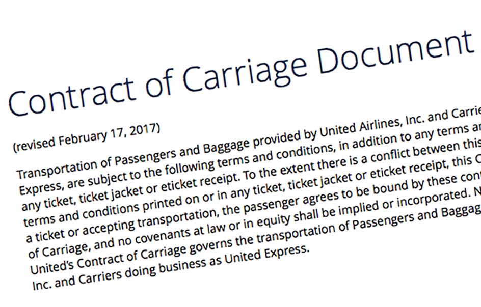 Airline Contract Of Carriage Is Important Ua Has Not