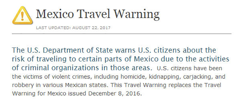 Is There A Us Travel Warning For Cancun Mexico