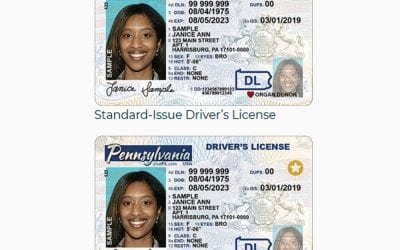 Real ID driver's license vs. Standard Issue driver's license for Pennsylvania, courtesy of the Commonwealth of Pennsylvania