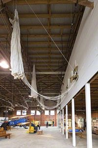 Tuskegee Airmen National Historic Site, Moton Field - parachutes hanging in Hanger #1 Copyright © 2019 NSL Photography. All Rights Reserved.