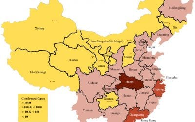 Map of the distribution of Wuhan virus cases in China on January 26, 2020