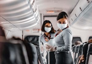 Wearing face mask on a plane