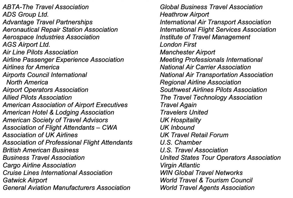 US/UK travel groups
