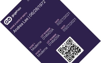 Sample GoGetVax COVID-19 digital vaccination certificate in a smartphone digital wallet. Courtesy of GoGetVax